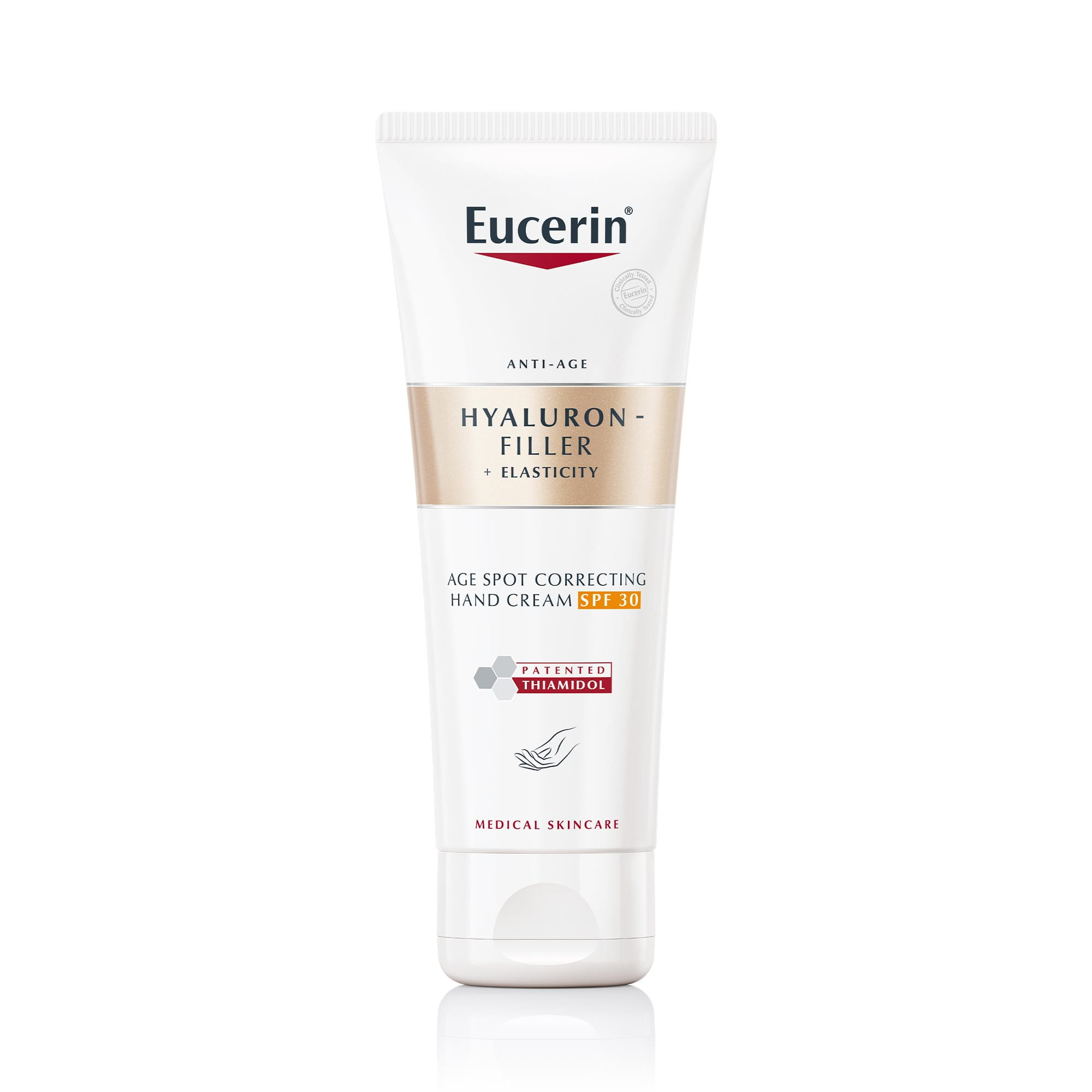 Eucerin Hyaluron-Filler + Elasticity pigmentfolt halványító & bőrfiatalító kézkrém FF 30
