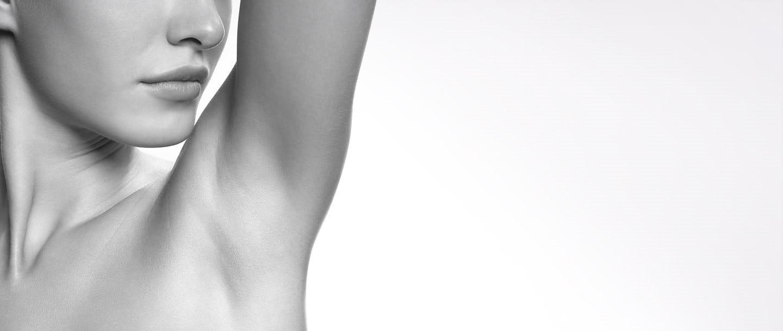 Eucerin model exposing under arm