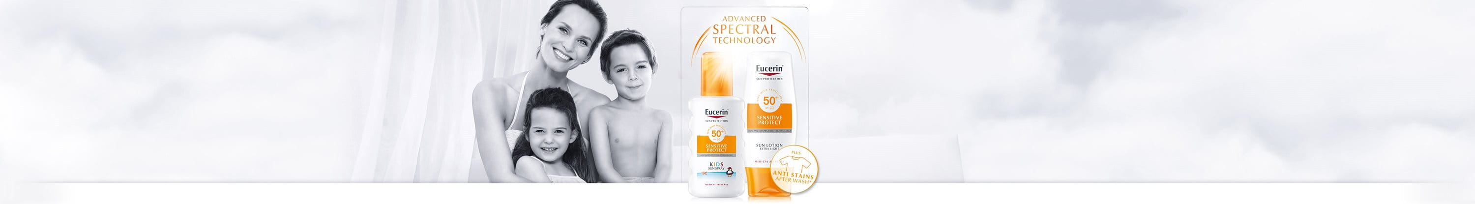 Women with the Eucerin sun protection symbol on shoulder