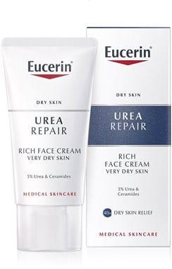 Eucerin nočna krema za gladko kožo obraza 5 % urea za suho do zelo suho kožo