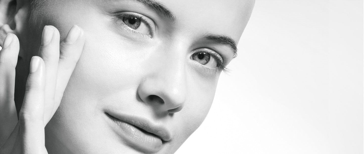 Woman's face with sensitive and dehydrated skin